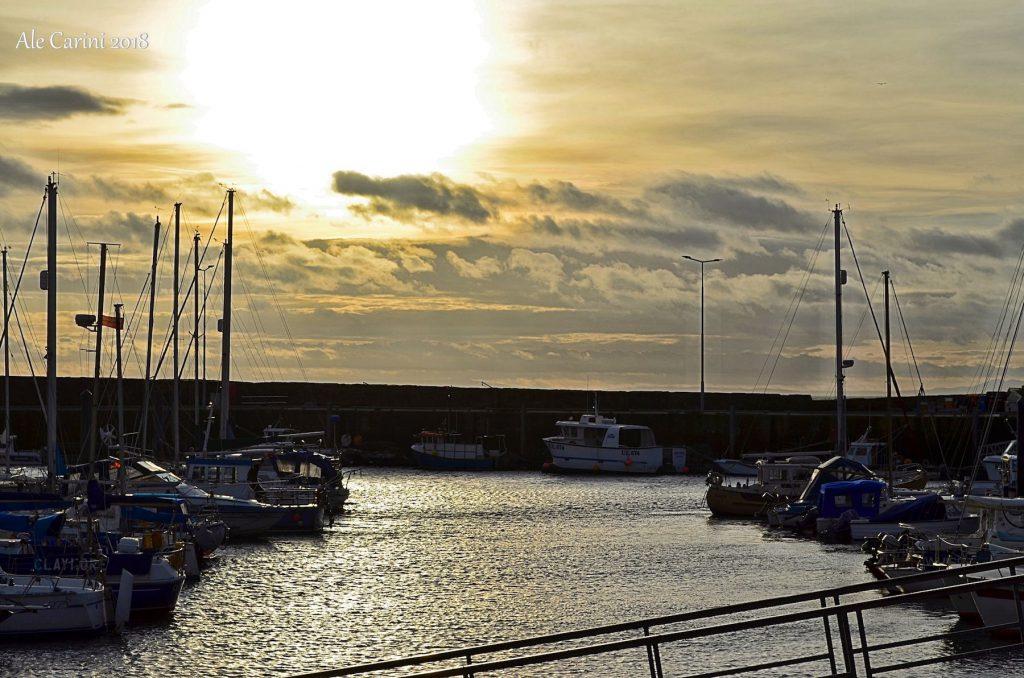 porto, barche, tramonto, anstruther